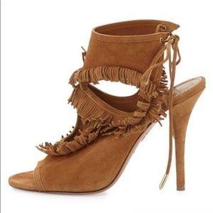 Aquazzura Fringe Suede Tie-Back Sandal (Brand New)